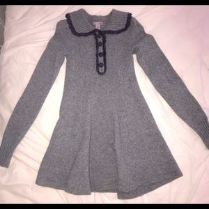 Wool button up flare dress